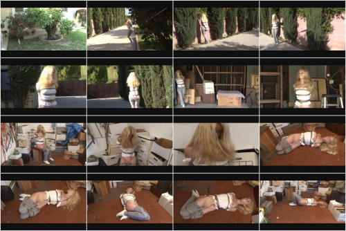 Bound and Gagged – Livia Wanders Outdoors and in the Garage and is Hogtied in Storage