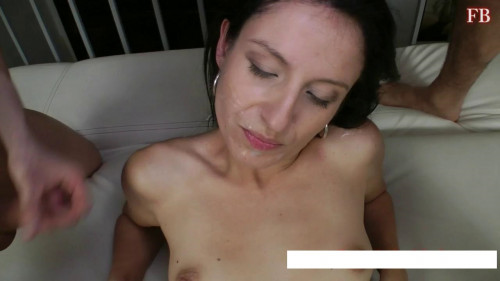 On her face with sperm pouring pleasure Bukkake