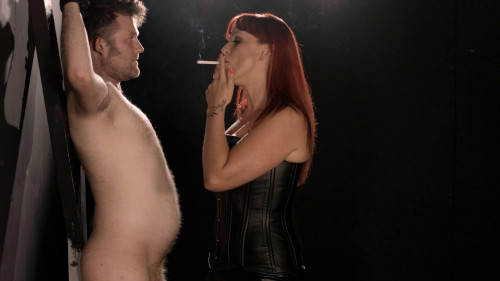 Mistress Amber Leigh Smokes Her Slave Femdom and Strapon