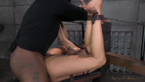 Huge beasted Rain DeGrey restrained in strict bondage BDSM