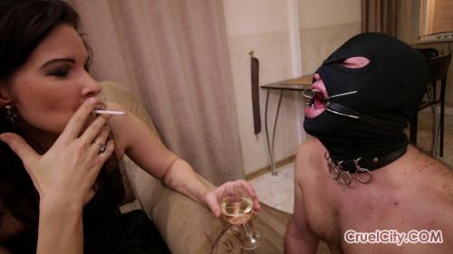 Olivia smoking Femdom and Strapon