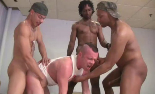 All-bareback adventure with gangbang