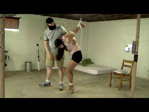 Summer Peters Tied Tightly To The Ceiling By A Masked Man