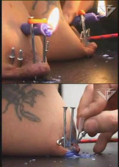 Cruel BDSM with nails and waxing