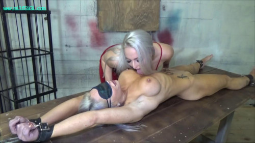 Sexy golden-haired lesbian babes night of erotic ache