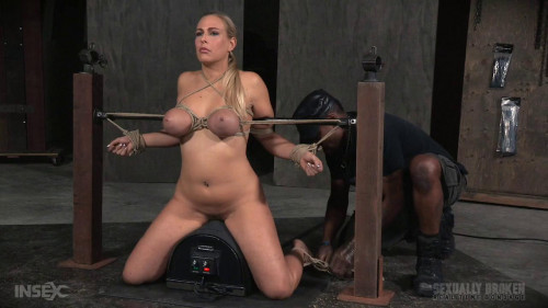 SexuallyBroken Fast paced Angel Allwood BaRS show with breast bondage, relentless sybian orgasms