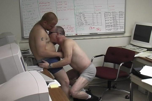Gay blowjob at work