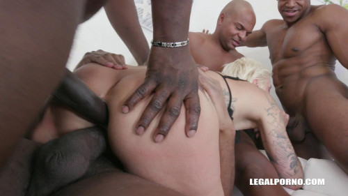 Sexy Blond Mila Milan Gangbanged By 4 Black Dicks Interracial
