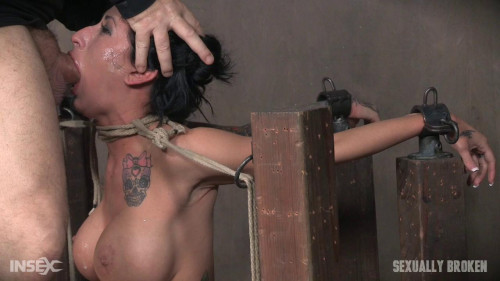 Lily lane is destroyed by a brutal face fucking, while being made to cum over and over! BDSM
