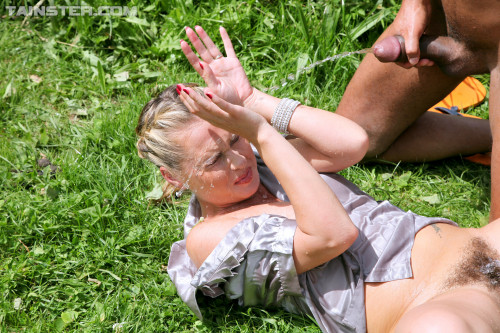 Hot Naughty Action In The Open Air On A Green Lawn