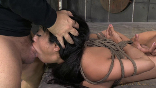 Big titted Asain, is bound, brutally face sex