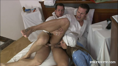 Rachel Evans Gets Involved When two Guys Start Sucking Each Other Off Bisexual