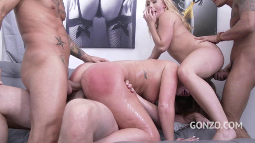 Maddy O'Reilley first double anal gangbang with AJ Applegate