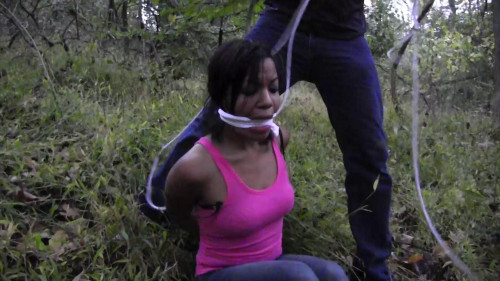 Monica Jade-Run away girl tied up in the back of his car.