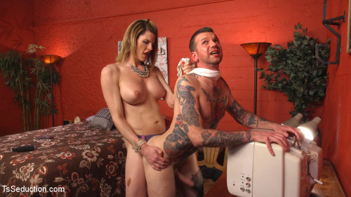 Delia releases a kept man from chastity then locks him down with her cock!
