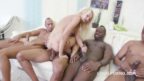 Black Busters Destroy Blond Slut In Interracial Orgy With DP