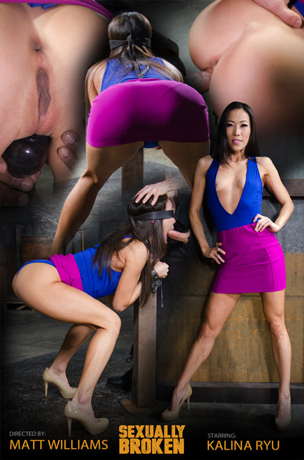 Kalina Ryu - Bent over blindfolded fuckdoll roughly taken from both ends (2015)
