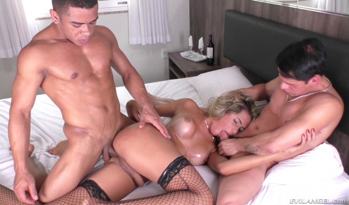 Hard anal threesome with TS Bella Trix