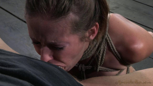 Lanky model Hailey Young rag doll fucked all over a couch while tightly bound (New 2013)