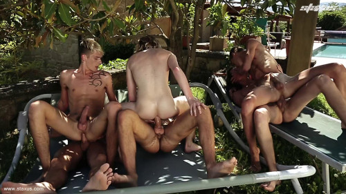 6 Horny Twinks In Sun Orgy Gay Clips