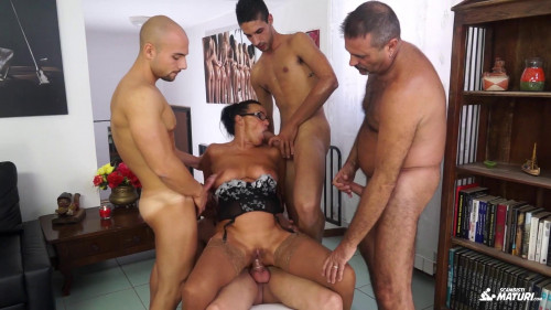 Italian orgy features brunette mature amateur fucked by four young cocks Sex Orgy