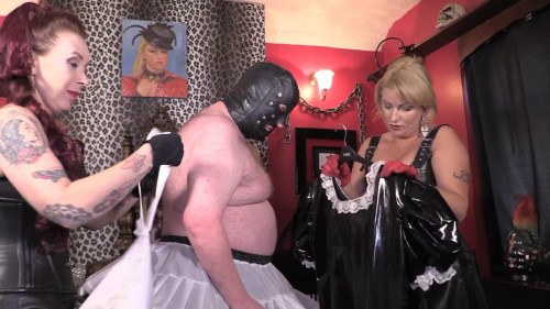 Mistress Erika and Julia's Stocking Slave - Feminisation