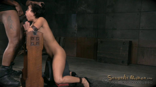 Nubile Mia Austin stuck in straightjacket, deepthroats in inverted suspension, rough BBC sex!