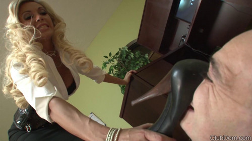 Slapping The Stocking Foot Bitch Femdom and Strapon