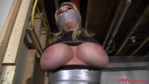 Left gagged and taped to a pole with her big tits out