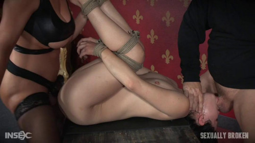 Sexy hot Asian Yhivi, rope bound, double fucked and deep throated