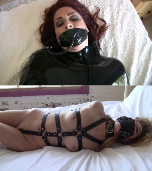 Tight bondage and hogtie for hot slavegirl with beautiful boobs BDSM Latex