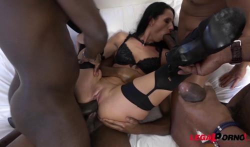 Russian Babe Gangbanged & DPed By 4 Big Black Dick