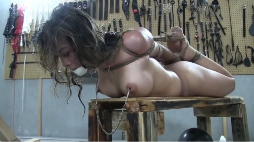 Constricted tying, torment and hog tie for lustful stripped slut FullHD 1080p