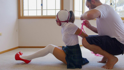 Schoolgirl Hooded Gagged and Hogtied Asians BDSM