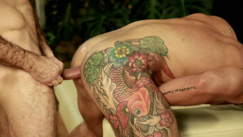 Thick uncut cock in tattoos ass Gays