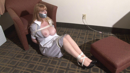 Bound and Gagged – Big-Boob Hotel Maid Lorelei Hopping in Bondage