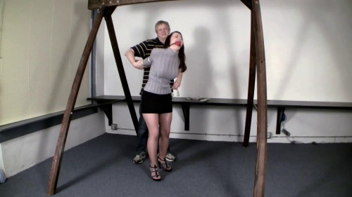 Serene Isley - Drooling Damsel in One Leg Strappado with Crotch Rope BDSM