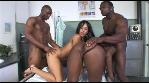 Two ebony sluts share a hard black dick Ebony
