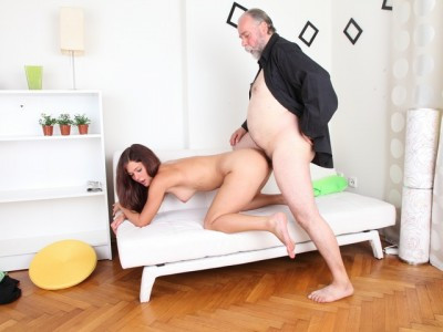 Alyona is a sexy young woman and she is sitting on the lap of her older sexy man Old and Young