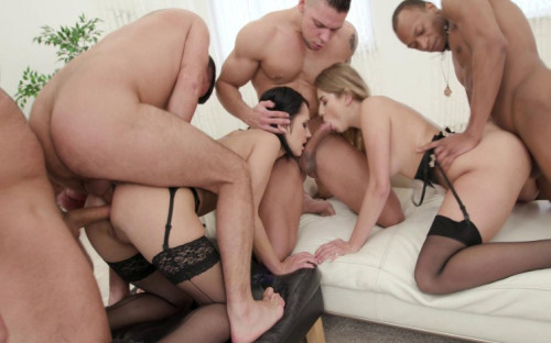 Hard gangbang battle: Julia Red Vs Angie Moon Orgies