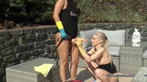 Foamy rubber gloved lesbian fun pt2 Lesbians