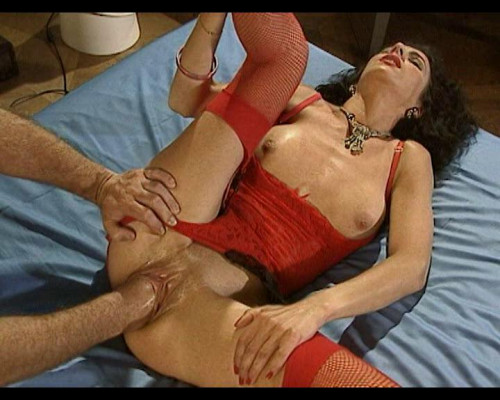 Depraved bitch in red underwear longs fisting Fisting and Dildo