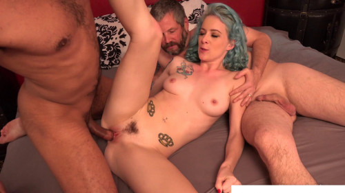 Two blue-haired penis on one hole