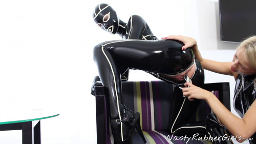 Passionate Rubber Lesbian sex,Dressing,Finger,Dildo part 2 BDSM Latex