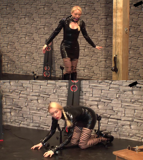 Tight bondage, domination and hogtie for sexy young blonde