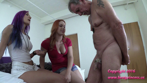 Lock Grandpa into Chastity before using his pool for a party Femdom and Strapon