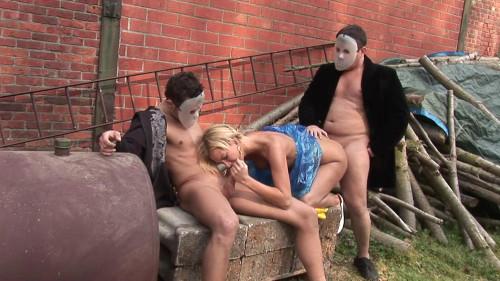 Masked dudes find horny blondie