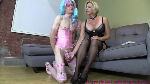 With Over Knee Spanking Femdom and Strapon