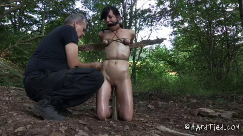 Elise Graves bondage in woods