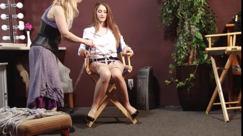 Actress Tied to Directors Chair - Behind the Scenes with Terra Mizu BDSM